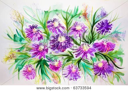Bright Colored Illustration With Flowers
