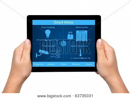 Isolated Men Hands Hold A Tablet With System Smart House On The Screen