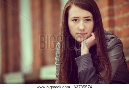 Wistful Sad Attractive Young Woman