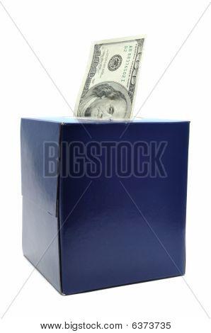 One Hundred Dollar Bill In Tissue Box