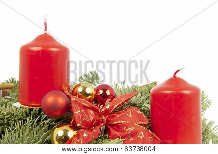 Xmas Piece Ribbon Balls Candles