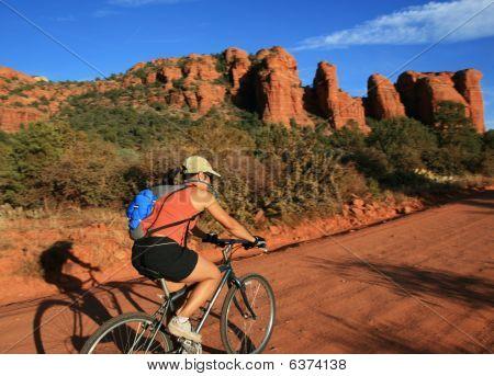 Woman Bicycling