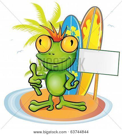 Frog Cartoon Surfer On Island Background