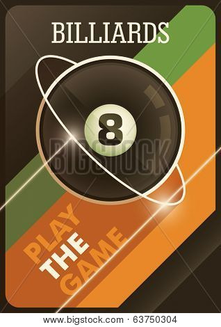 Modern billiards poster. Vector illustration.