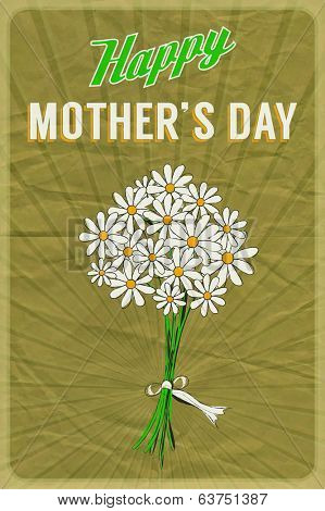 Retro poster with a posy of daisies and Happy Mother's Day greeting, on crumpled brown paper background.