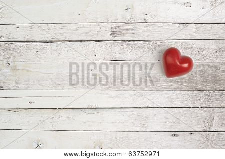 red heart on a wooden background for lovers and valentine day