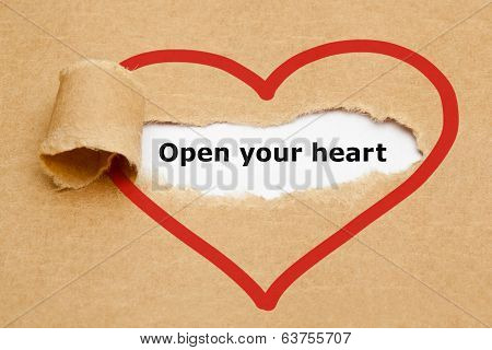 Open Your Heart Torn Paper