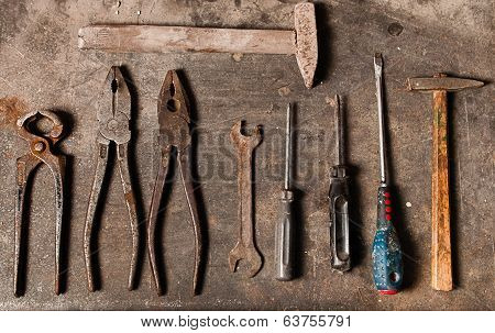 Workbench With Rusty Tools