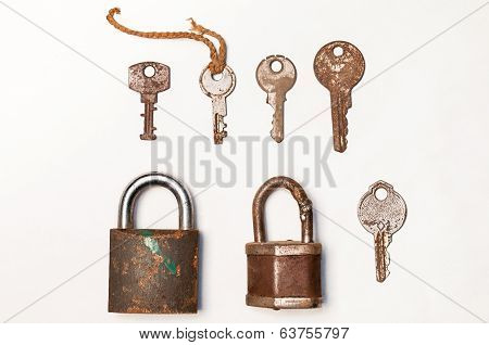 Old Rusty Lock And Key