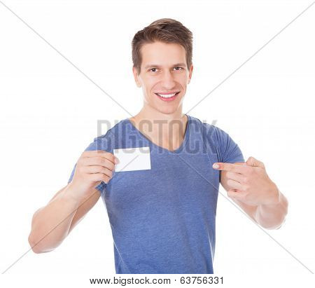 Young Man Holding Visiting Card