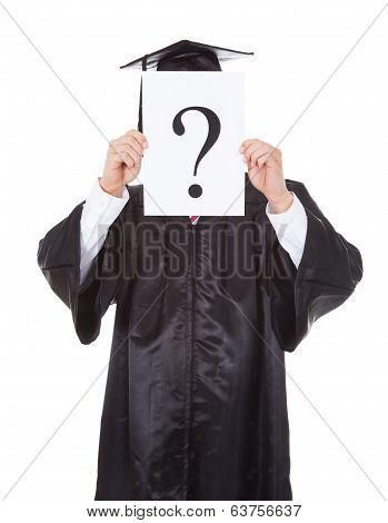 Graduate Person Holding Question Mark Sign