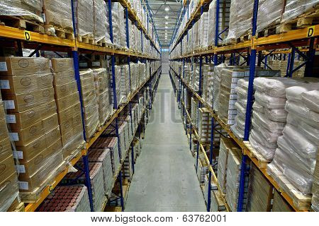 Interior Of A Large Warehouse, With Pallet Racking