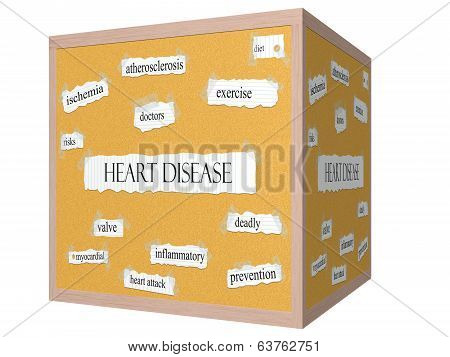 Heart Disease 3D Cube Corkboard Word Concept