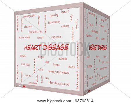Heart Disease Word Cloud Concept On A 3D Cube Whiteboard