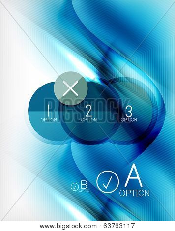 Blue aqua wave designed business poster. Illustration of blue color blurred waves on white