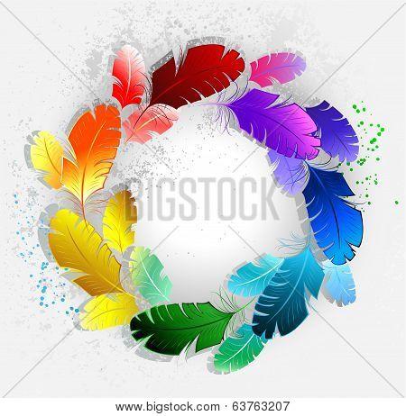 Circle of rainbow feathers