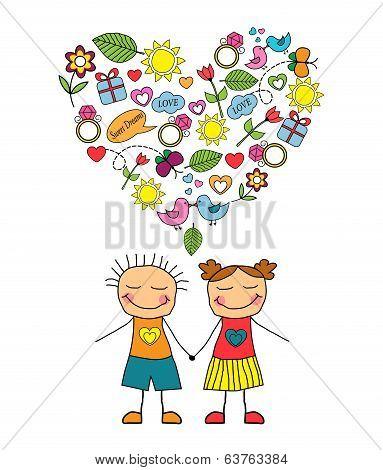 Cartoon couple and love symbols