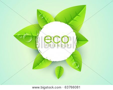 Sticker, tag or label design with stylish text Eco Friendly and fresh green leaves on green background for World Environment Day.