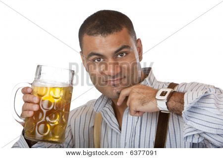 Young Man Holding Full  Oktoberfest Beer Stein In Hand