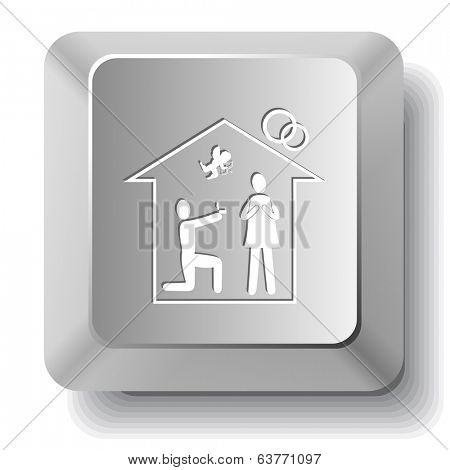 Home affiance. Vector computer key.