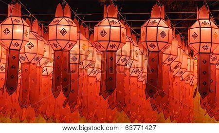 Northern Thai Style Lanterns At Loi Krathong