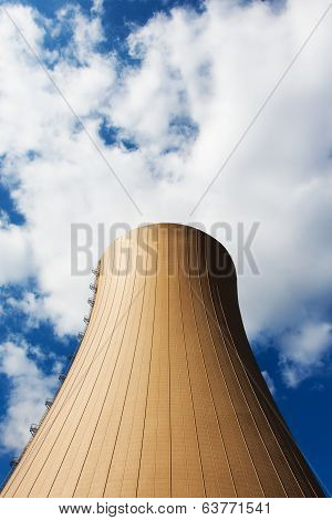 Nuclear Power Plant Against Sky And Clouds
