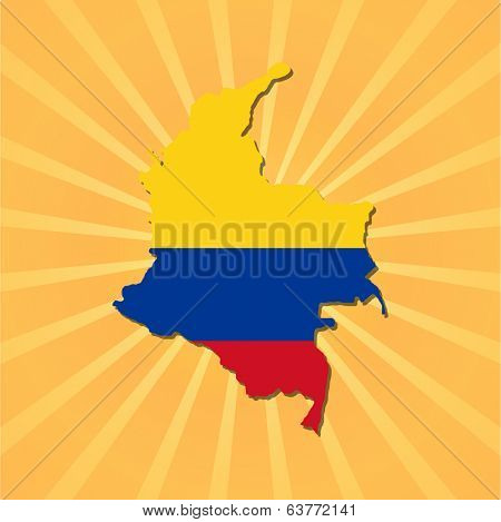 Colombia map and flag on sunburst illustration