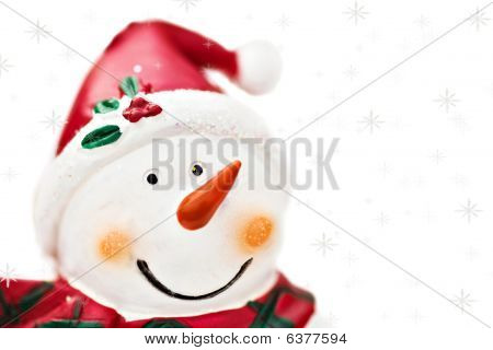 Snowman With Snowflakes Isolated On White