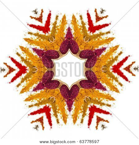 Abstract decoration shape snowflake made of colored powder spices  isolated on a white background