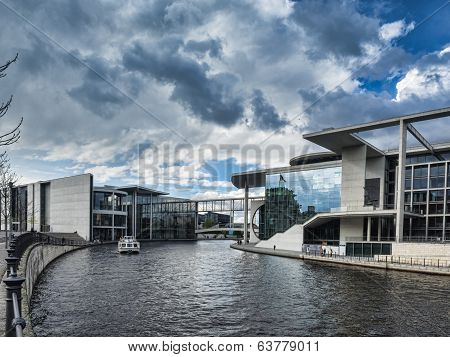 River Spree And Bridge In Front Of The German Chancellery In Berlin