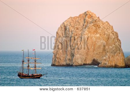 Pirate Ship And Rock