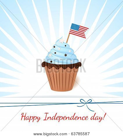 Greeting Card With Flag. American Patriotic Themed Cupcake For The 4Th Of July.