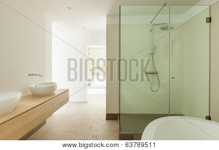 Interior of a new empty house, bathroom