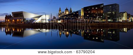 Panoramic View From Albert Dock In Liverpool