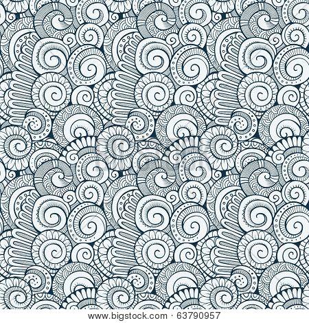 Vector spiral decorative doodles pattern