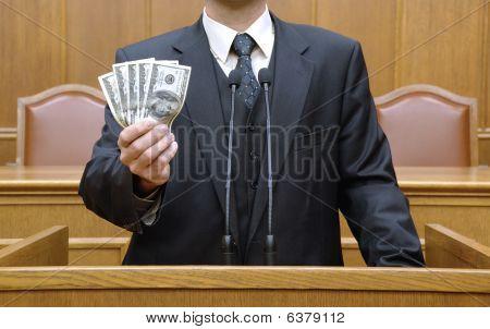 Politiker Holding Geld