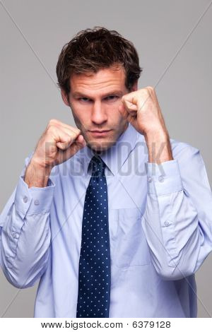 Businessman Ready To Do Battle