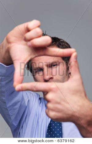 Businessman Hand Frame