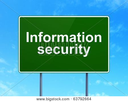 Security concept: Information Security on road sign background