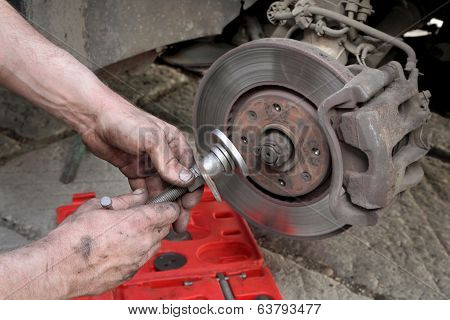 Car Mechanic Work On Disc Brakes