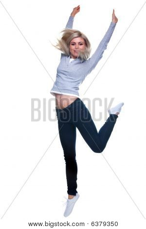 Blonde Woman Jumping