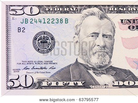 Fifty Dollars Isolated On White Background