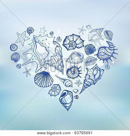 Heart of Sea shells.  Summer holidays.