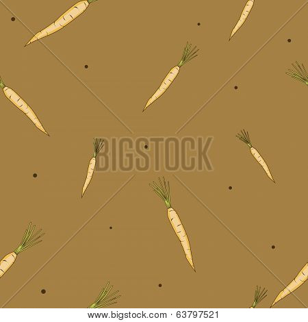carrots with greens on brown seamless background vector