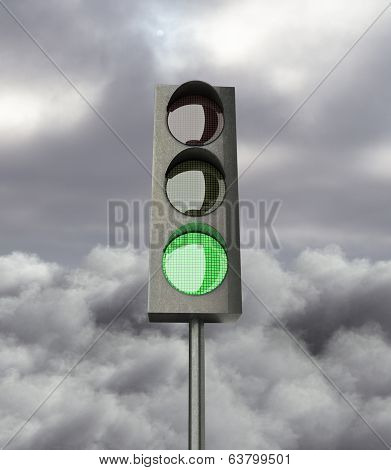 Gree Color On Traffic Light