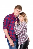 image of friendship belt  - Handsome man and pretty blonde posing in checked shirts - JPG
