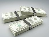 stock photo of 100 dollars dollar bill american paper money cash stack  - Stacks of hundred dollar bills 3d illustration - JPG