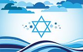 stock photo of israel israeli jew jewish  - abstract israel flag as sea and blue sky  - JPG