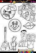 pic of proverb  - Coloring Book or Page Cartoon Illustration Set of Black and White Proverbs or Sayings for Children - JPG