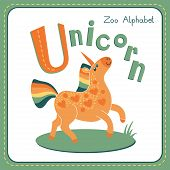 pic of unicorn  - Letter U  - JPG